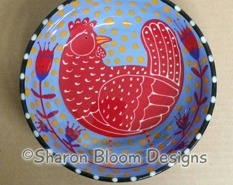 Red Chicken Hen Periwinkle Blue Ceramic Folk Art Bowl Hand Painted by Sharon Bloom Designs
