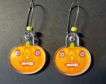 Halloween Pumpkins Jack-O-Lantern Acrylic Earrings by Sharon Bloom Designs