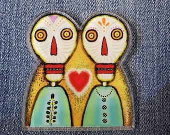 Dia de Los Muertos Skeletons Acrylic Scatter Pin by Sharon Bloom Designs