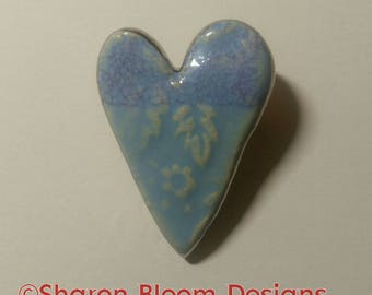 Ceramic Embossed Light Blue Heart Brooch Pin Valentine's Day Handmade by Sharon Bloom Designs