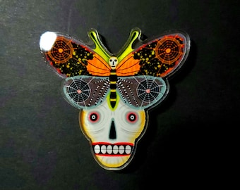 Halloween Skull Butterfly Acrylic Scatter Pin by Sharon Bloom Designs