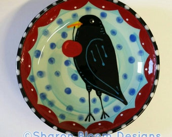 Blackbird Crow Cherry Folk Art Small Ceramic Bowl Hand Painted by Sharon Bloom Designs
