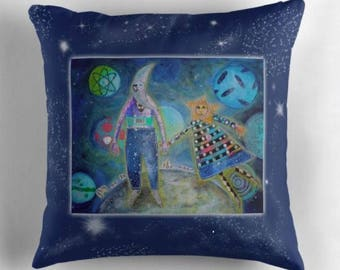 Decorative Throw Pillow COVER Fly Me To The Moon from Sharon Bloom Designs