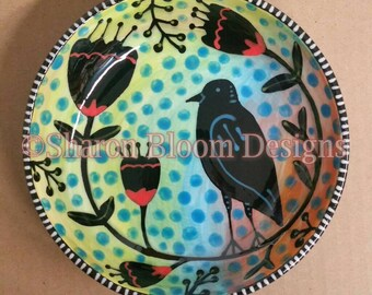 Flora and Fauna Small Ceramic Bowl Hand Painted by Sharon Bloom Designs