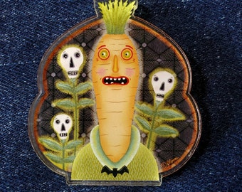 Halloween Acrylic Scatter Pin Anthropomorphic Carrot Skulls by Sharon Bloom Designs