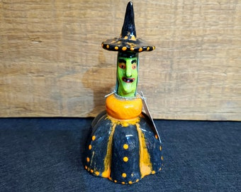 Halloween Tiny Witch Rattle Shaker Sculpture handmade by Sharon Bloom Designs