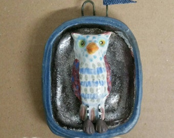 Ceramic Owl Flags Hanging Wall Sculpture House Jewelry Handmade by Sharon Bloom Designs