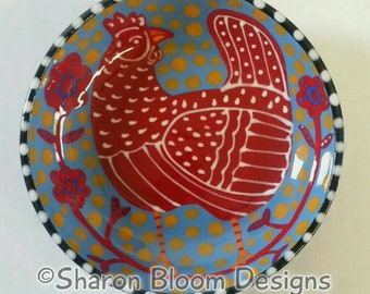 Folk Art Red Chicken Hen Flowers Small Ceramic Bowl Hand Painted by Sharon Bloom Designs