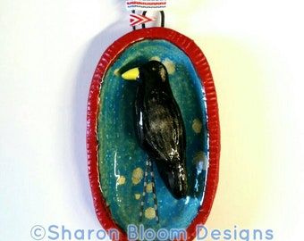 Ceramic Blackbird Crow and Flags Hanging Wall Sculpture House Jewelry Handmade by Sharon Bloom Designs