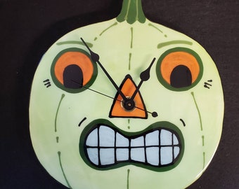 Halloween Pumpkin LIME GREEN Jack-O-Lantern Ceramic Wall Clock Handmade by Sharon Bloom Designs