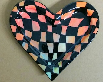 Ceramic SMALL Checkerboard Op Art Heart Dish No. 2 Hand Painted by Sharon Bloom