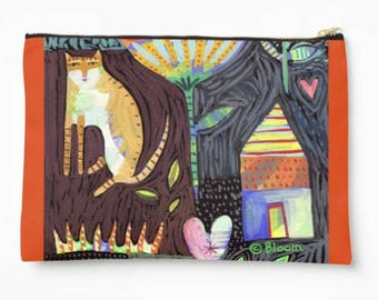 Large Zipper Pouch Cat House Heart designed by Sharon Bloom Designs