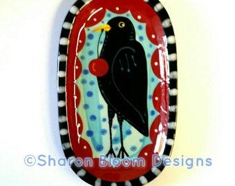 Blackbird Crow  Cherry Folk Ceramic Mini Tray Hand Painted by Sharon Bloom Designs