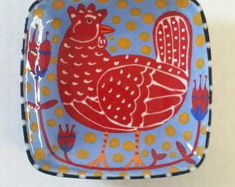 Red Hen Chicken Periwinkle Blue Folk Art Ceramic Square Dish Hand Painted by Sharon Bloom Designs