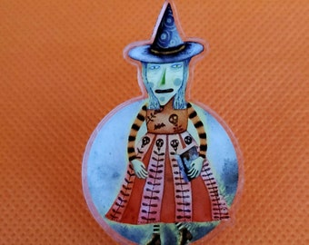 Halloween Witch Full Moon Acrylic Scatter Pin by Sharon Bloom Designs