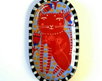 Red Folk Art Cat Ceramic Mini Tray Hand Painted by Sharon Bloom Designs