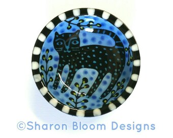 Black Cat Light Blue Mini Bowl Painted by Sharon Bloom Designs