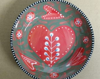 Red and Pink Hearts Small Ceramic Bowl Valentine's Day Hand Painted by Sharon Bloom Designs