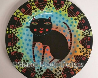 Cat in the Hood House Neighborhood  Ceramic Round Plate Hand Painted by Sharon Bloom Designs