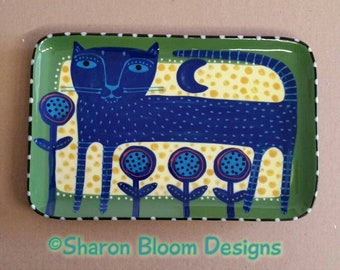 Blue Cat Green Yellow Folk Art Style Ceramic Tray by Sharon Bloom Designs