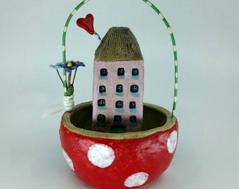 Ceramic House Polka Dot  Basket Sculpture Handmade Sharon Bloom Designs
