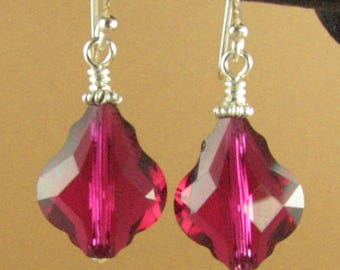 Baroque ruby red crystal earrings made w/ Swarovski Elements. Big. Sterling silver 925.