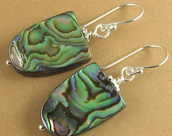 Abalone shell earrings. Blue/green. Paua. Iridescent. Sterling silver.