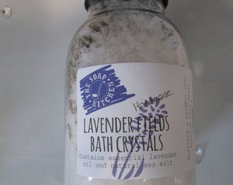 Natural Handmade Lavender Fields Bath Crystals 250g Paraben and SLS Free