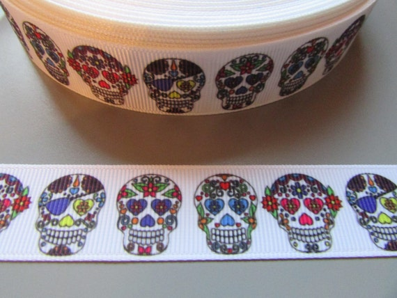 Sugar Skull  Grosgrain Ribbon 2.2cm  x 1 Metre  Sewing//Costume//Crafts//Cake
