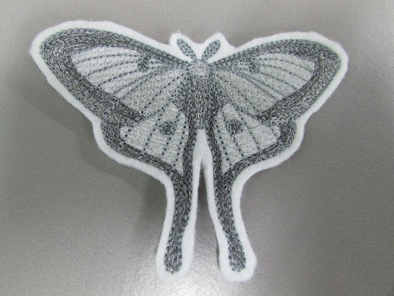 Ghostly Luna Moth Embroidered  Sew on Applique Patch