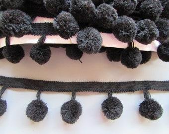 XL Black Pom Pom Trim Braid