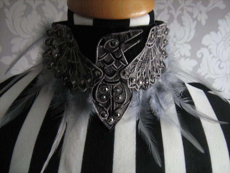 Velvet Choker with Embroidered Diamante Bat Goth//halloween//Burlesque many colour