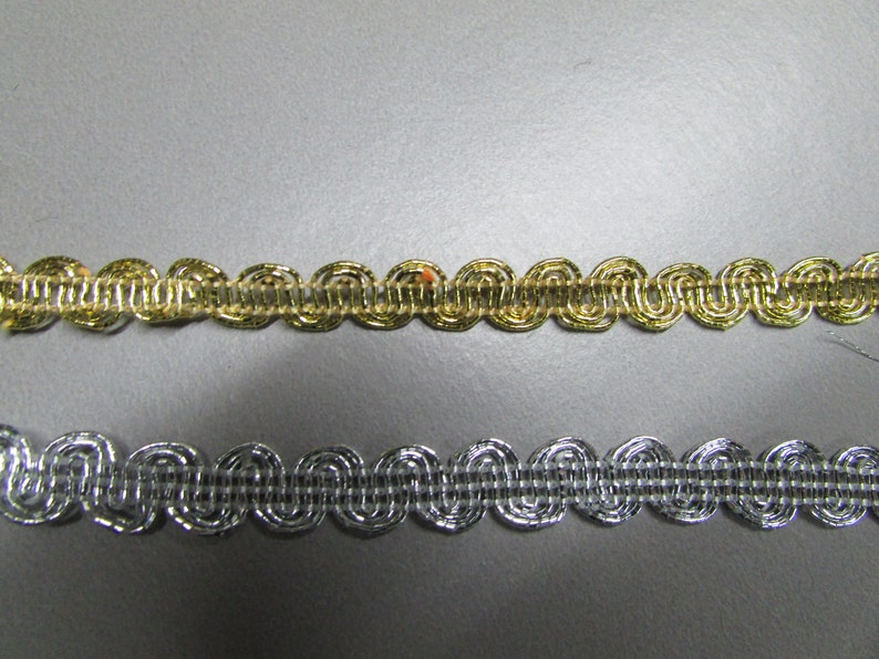 1cm Metallic Braid Trim in silver or gold