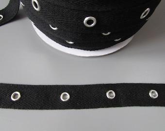"Black Twill 2cm (3/4"") eyelet tape x 1 metre"