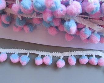 Blue and Pink Pom Pom Trim Braid