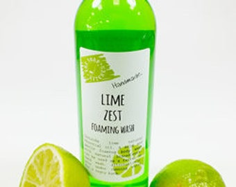 Natural Handmade Lime Zest Foaming Body Wash Paraben and SLS Free