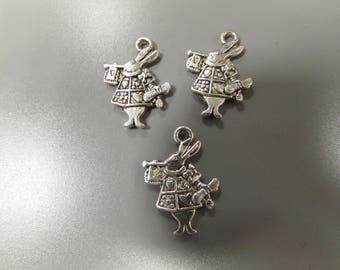 Silver Alice in Wonderland White Rabbit Tibetan Jewellery Charm