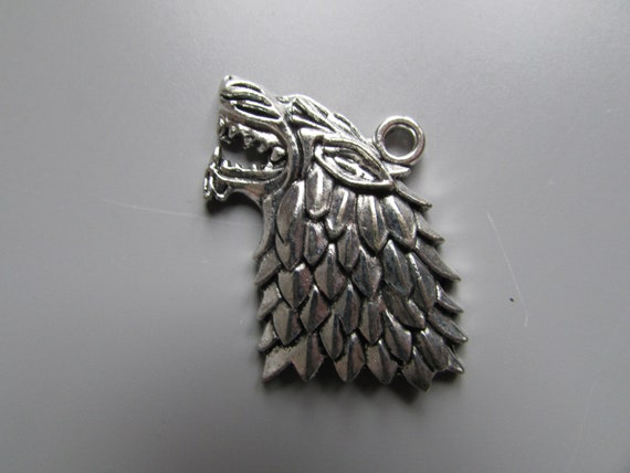 Antique Silver Tone Tibetan Silver Wolf Head With Feather Pendant Charms