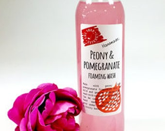 Natural Handmade Peony and Pomegranate Foaming Body Wash Paraben and SLS Free