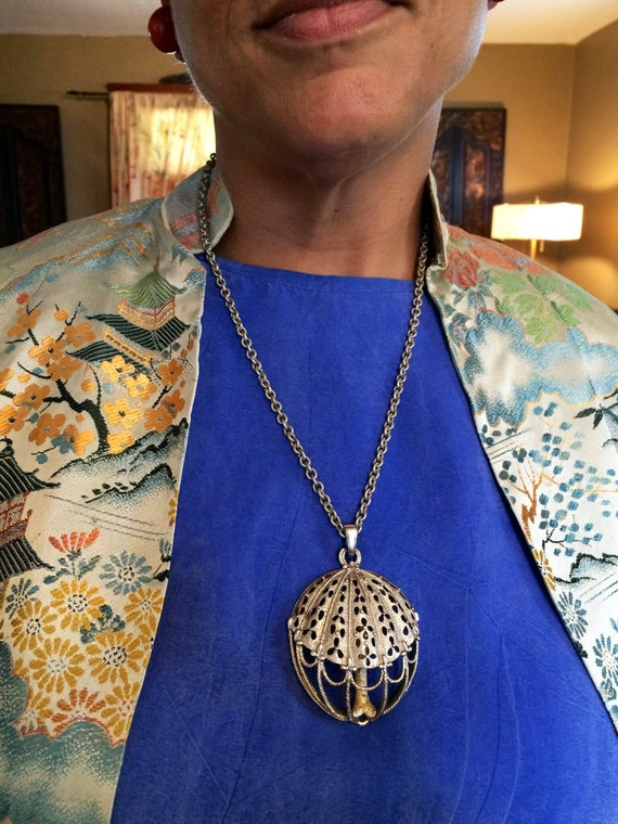 Trifari 1970's Umbrella pendant and chain.