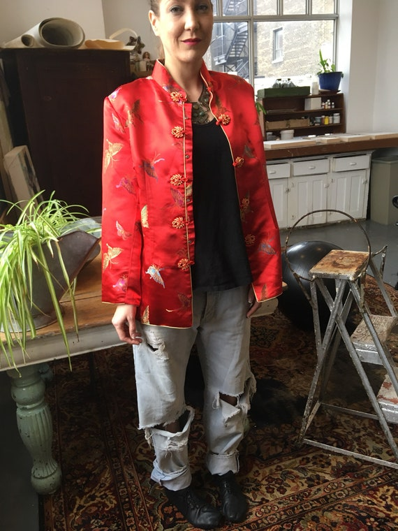 Cherry Red Silk Tang Jacket