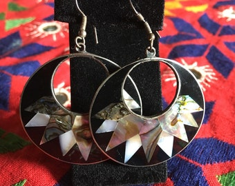 Mother of Pearl Inlaid Sterling Earrings