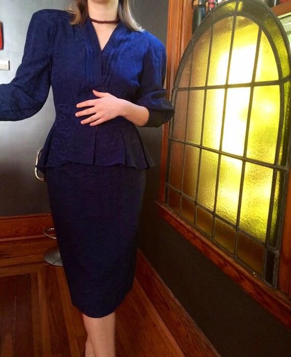 Blue Silk 1980's Suit
