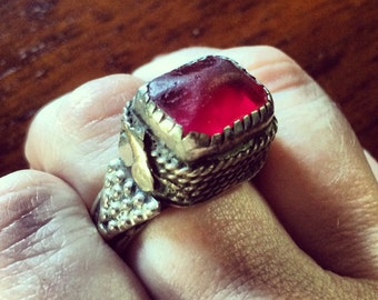 Antique glass and Sterling Ring