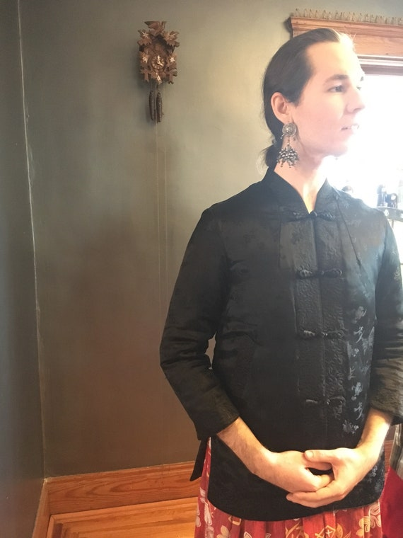 Black Padded Silk Tang Jacket