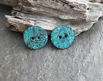 WAVY BUTTONS - 2 Greek Mykonos Buttons, Patina buttons, Greek two Hole Buttons