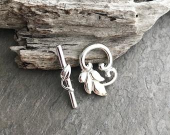 SILVER LEAF VINE Toggle Clasp - Jewelry Clasp, Silver Toggle Clasp, Leaf Toggle Clasp
