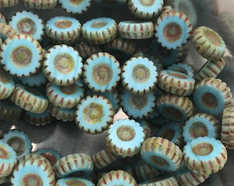 TURQUOISE DAISIES - 6 Beads, Czech Glass Beads, Premium Beads, Glass Beads, Picasso Beads