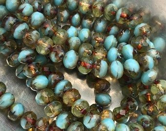 BABY BLUE RONDELLE - 10 Beads, Czech Glass Beads, Premium Beads, Glass Beads, Picasso Beads
