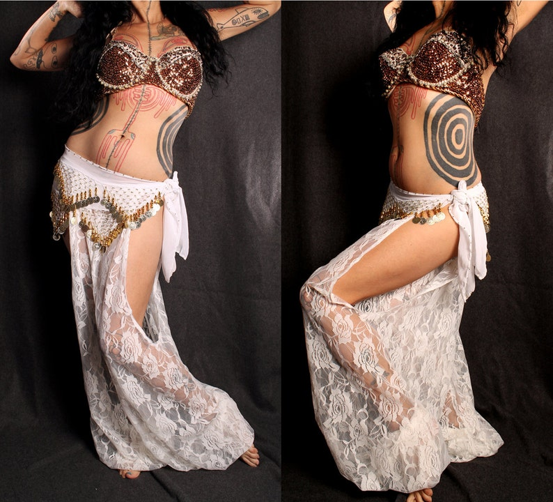 a0ee9d9bbc781 Goddess Heirlooms belly dance Harem Pants white lace cut out